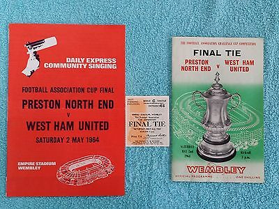 1964 - FA CUP FINAL PROGRAMME + MATCH TICKET + SONGSHEET - PRESTON v WEST HAM