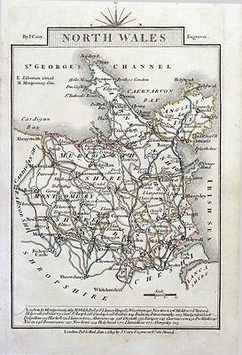 NORTH WALES John Cary  Hand Coloured Miniature Antique County Map 1819