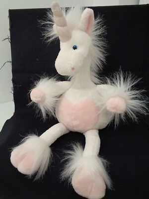 "WHITE & PINK 16"" UNICORN with HEART - SOFT TOY by RUSS BERRIE - BENDY ARMS/NECK"