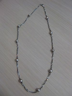 """Estate Sterling Silver Beaded Singapore Necklace 4.6 Grams 16"""" Snake Chain"""