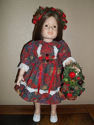 "Christmas Dress & Accessories-For 18"" Magic Attic & Similar Sz-No Doll Included"