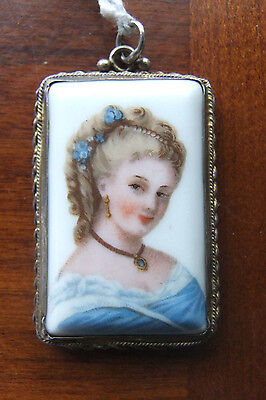 LIMOGES FRANCE miniature Porcelain PORTRAIT PENDANT IN GILT STERLING CASED