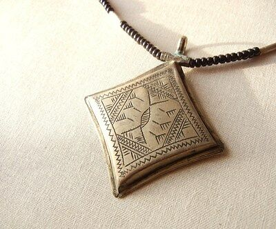 Vintage African Tuareg Tribal Necklace With Etched Silver Talisman Pendant - I