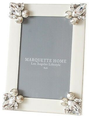 MARQUETTE HOME White Harlow 5 x 7 Picture Frame w/ Swarovski Crystals - $210+