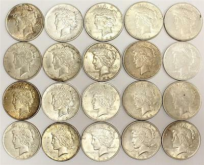 20 x 1922 Peace USA Silver Dollars VF to EF45 condition