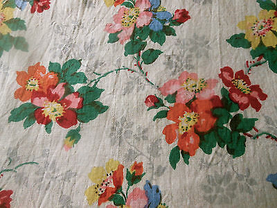 Antique French Blossom Floral Cotton Fabric ~Alsace~ Yellow Blue Orange Red Pink