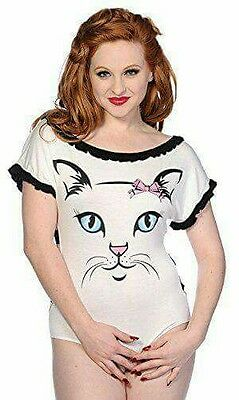 banned cat face body suit top new size small 10