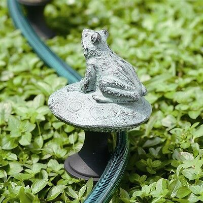 Frog on Mushroom Aluminum Hose Guard,15''H