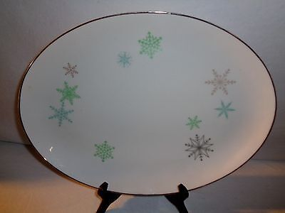 Vintage Harmony House SNOWFLAKE China Oval Serving Platter