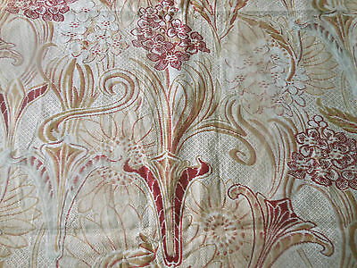 Antique French Art Nouveau Stylized Floral Cotton Fabric ~ Burgundy Red Caramel