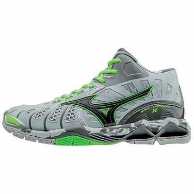 Mizuno Men's Wave Tornado X Mid Volleyball Shoes - Grey & Green Gecko - 430210