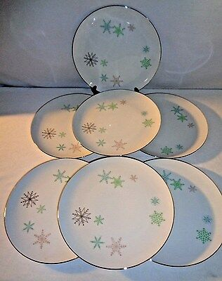 Vintage Harmony House SNOWFLAKE Dinner Plates (set of 7)