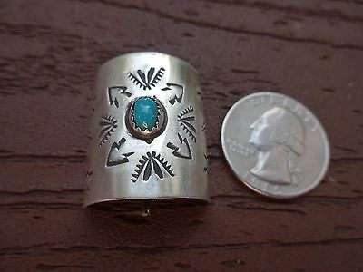 """Navajo 1"""" Sterling Silver & Turquoise Pony Tail Slide"""