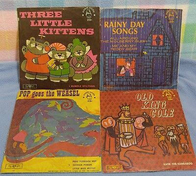 Vintage Children's Records 45 rpm~3 Little Pigs, Rainy Day Songs, Old King Cole+