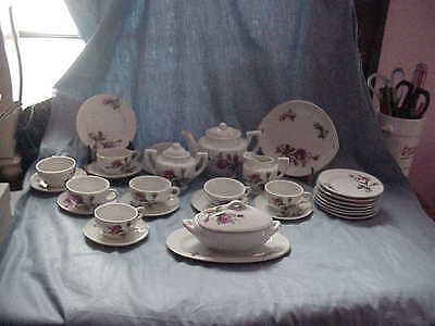 Vintage Child's Toy China Dish Set Moss Rose Set Of 35 Pieces