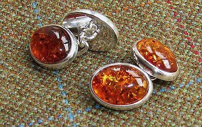 New designer silver cufflinks with cognac Baltic amber, chain-linked