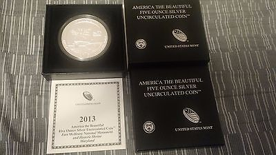 2013 America the Beautiful 5 oz Silver Coin Fort McHenry National Monument + box