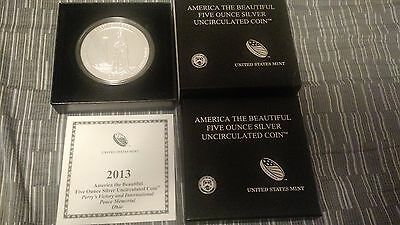 2013 America the Beautiful 5 oz Silver Coin Perry's Victory with box + coa!