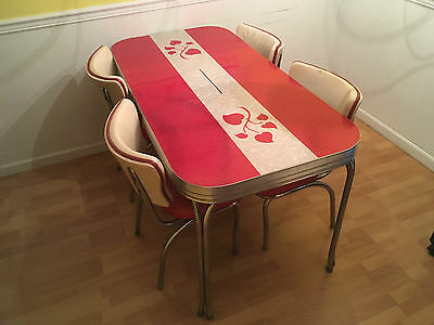 Chrome Formica RED & WHITE Table HEARTS 4 chairs dining dinette set 50's NICE!!