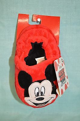 MICKEY Mouse U Pick Med Large 9/10 Kids Boy Girl SLIPPERS RED Plush SZ 7-8 Child