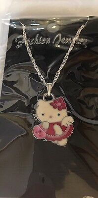 Hello Kitty Child's Necklace, Pink Dress Holding Purse
