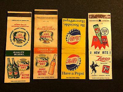 Vintage Pepsi Cola, 7 Up Zorro, 2 Canada Dry Early Mixer Matchbooks Lot Rare!!
