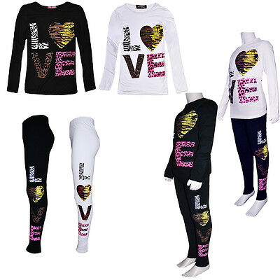 Kids Girls Long Sleeve Animal Love Print Tops/ Leggings /Sets Age 7-13 Years