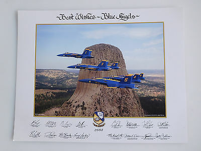 "2008 Best Wishes BLUE ANGELS 11x14"" Lithograph/Poster Devil's Tower, Wyoming"