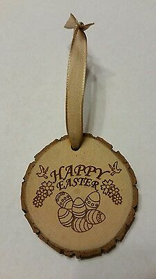 Rustic Wood Happy Easter Flowers Dove Ornament