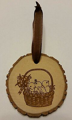 Rustic Wood Easter Chicks in Basket Ornament