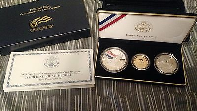 2008 US Bald Eagle 3 Coin Proof Set $5 Gold $1 Silver 50 Cent Complete