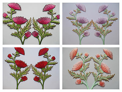 Iron On Patch Embroidered Trims Flower Sewing Fabric Crafts Carnation Applique
