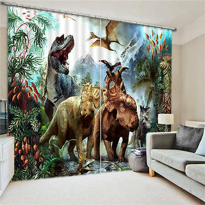 Amazing Dinosaur World Kids 3D Blockout Photo Printing Curtains Draps Fabric Wi