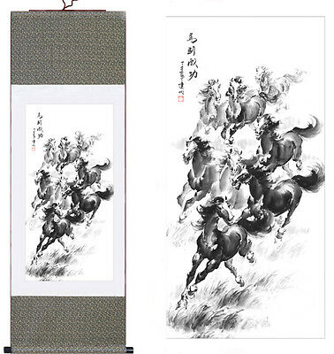 """""""Horse"""" Chinese Silk Scroll Painting Landscape Painting Home Office Decoration"""