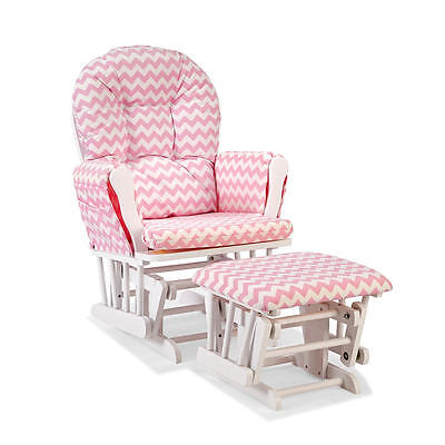 Stork Craft Hoop Custom Glider/Ottoman - White/Pink Chevron