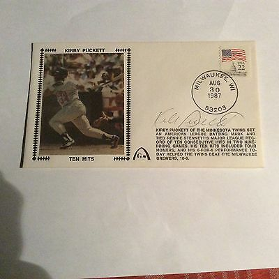 Kirby Puckett Signed Ten Hits First Day Cover PSA