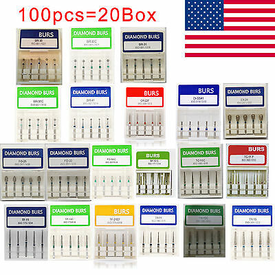 100 Dental Diamond Burs For High Speed Handpiece Medium FG 1.6mm USA STOCK 20BOX