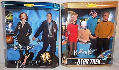 Set Of 2 Barbie & Ken Sci-Fi Collector Ed. Gift Sets: The X-Files And Star Trek