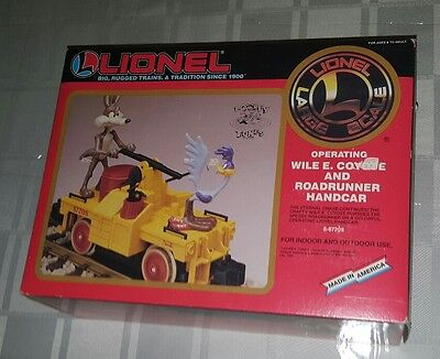 Brand New 1992 Lionel Wile E. Coyote and Roadrunner Handcar Large Scale 8-87208