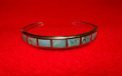 """BEAUTIFULLY CRAFTED VINTAGE .925 STERLING SILVER & Zuni Turquoise Cuff 6"""""""