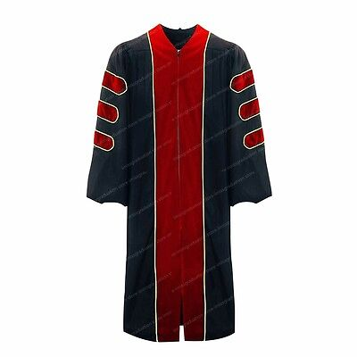 Deluxe Doctoral Graduation Gown With Gold Piping Red Velvet