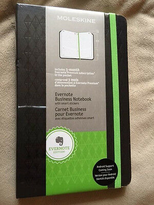 Moleskine Evernote Business Notebook, Smart Stickers, Hard Cover, Large.