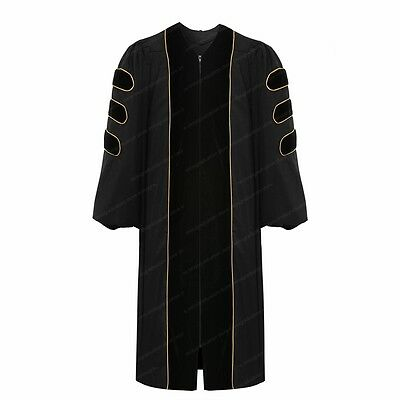 Deluxe Doctoral Graduation Gown With Gold Piping Black Velvet