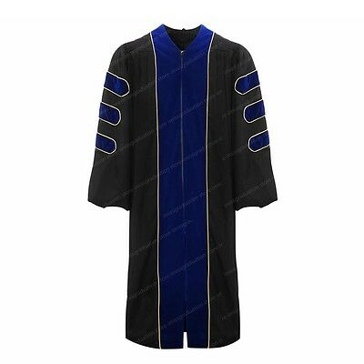 Deluxe Doctoral Graduation Gown With Gold Piping Royal Blue Velvet