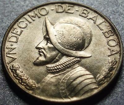 1932 REPUBLIC of PANAMA .900 Fine Silver ONE TENTH BALBOA, Extremely LOW MINTAGE