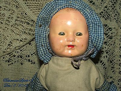Antique EARLY 1900's TIN HEAD SMILY FACE ORIGINAL OUTFIT BONNET BABY DOLL