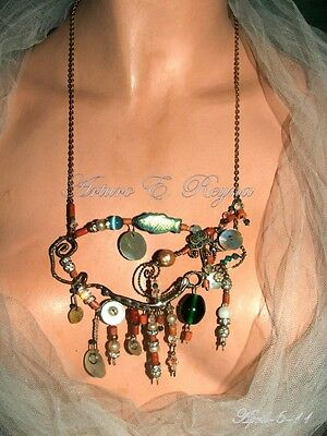 Artisan Arturo E.Reyna Natural Coral, Glass Beads, Rhinestone, Copper Necklace
