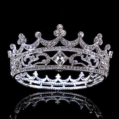 High Full Crystal King Wedding Bridal Party Pageant Prom 4.5cm Tiara Round Crown