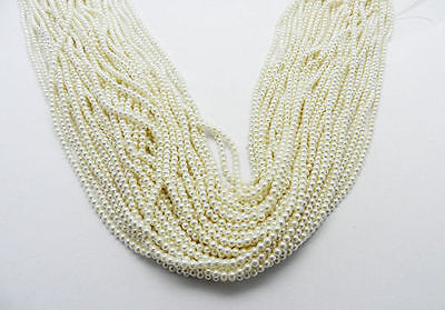 16.2Inches 1PC White Shell Pearl 3mm Round Smooth Gemstone Beads Strand Jewelry