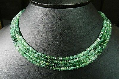 "1PC Strand 18"" Shaded Emerald 3-4.5mm faceted rondelle gemstone beaded necklace"